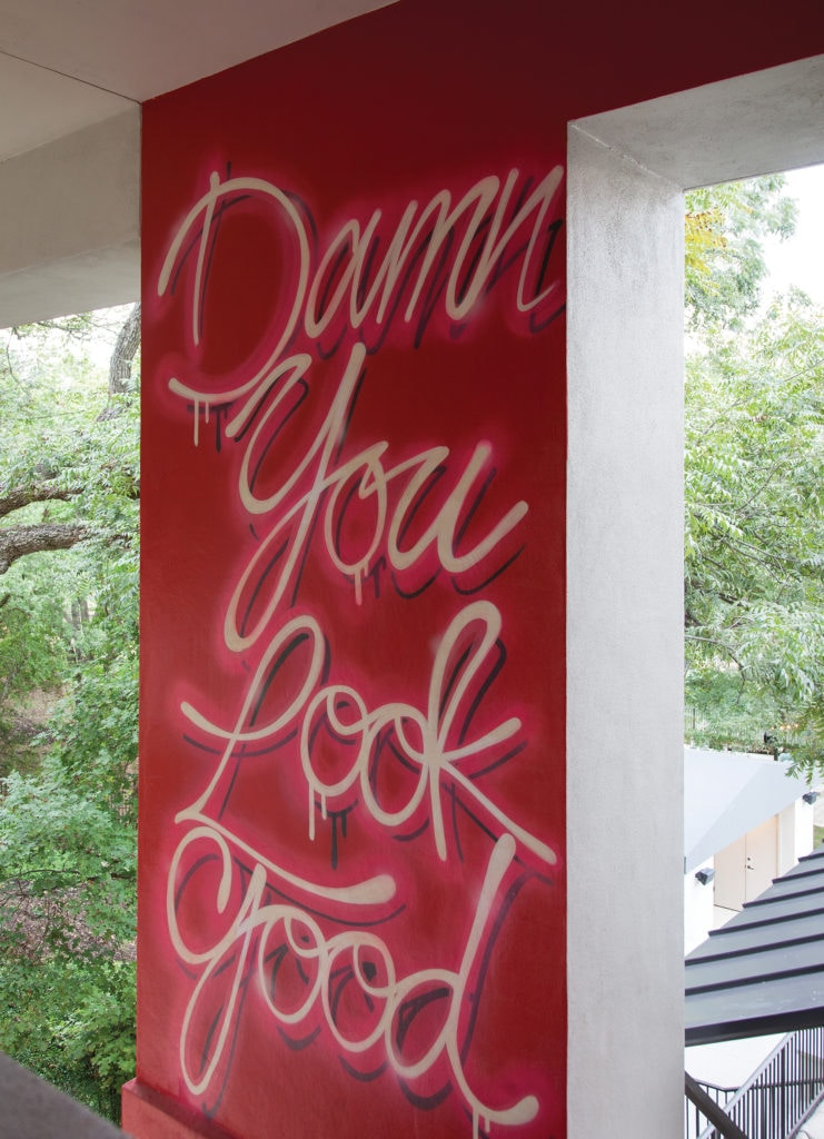 The muralist created an artistic surprise that can only be viewed from specific angles inside the house.