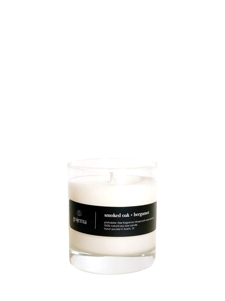 This earthy soy wax candle includes notes of smoked oak, bergamot, cedarwood, and patchouli. Gojema Smoked Oak + Bergamot Tumbler Candle ($22) at gojema.com